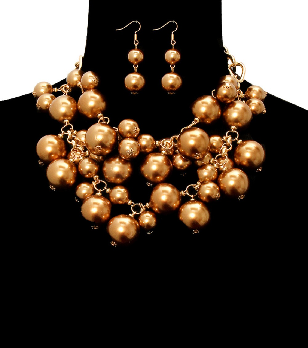 Lovely chunky pearl fashion necklace images AX05